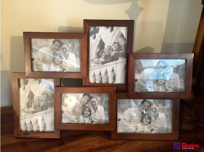 Rodinný fotorámik drevený hnedý stredný, 44,5x31cm, 24,00€, 10x15cm 2x, 13x9cm 3x, 15x10cm 1x, 61013ART