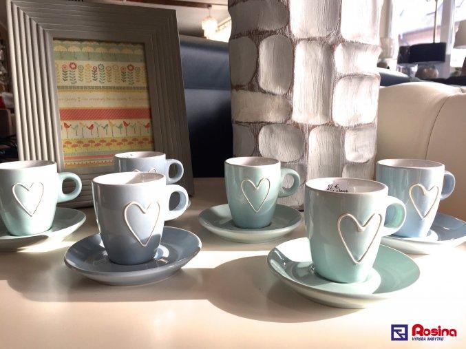 Set 6 šálok + tanierikov Srdiečko Zeleno modré 22,00€, 35050TRE
