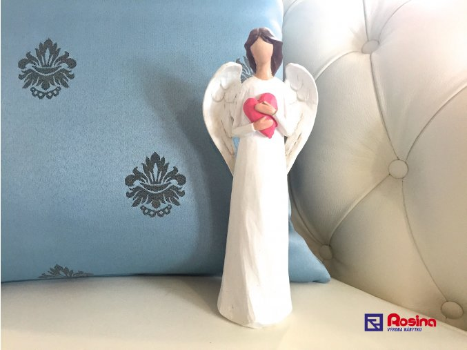 Soška Anjelik biely s červeným srdcom 23cm, 23,00€, 725088TRE
