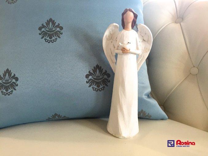 Soška Anjelik biely s holubičkou 23cm, 23,00€, 725088TRE