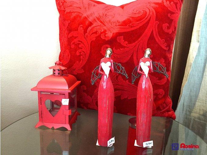 Soška Anjelik červený s bielym srdiečkom 21cm, 13,90€, 414034TRE
