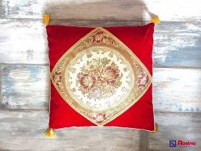 Vankúš Červeno zlatý so strapcami 45x45cm, 16,00€