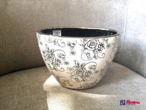 Váza moderná biela so striebornou ružou 20x15cm, 18,00€, 216140TRE