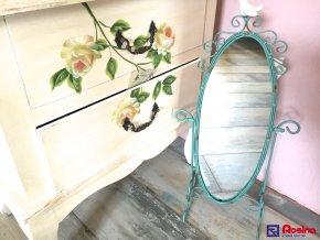 Zrkadlo Provence kovové zelené s vtáčikom 53x19x17 cm, 39,00€, 93291ART