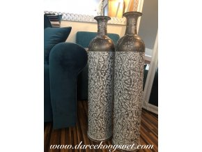 Šedá plechová váza 77cm, 69,00€, 180502TRE