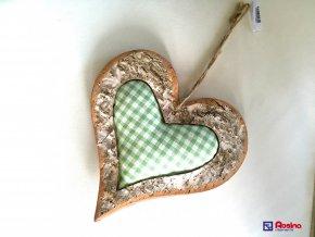 Dekoračné Drevené Srdce + zel.látka stred 25cm, 10,90€, 001ART12019HAR
