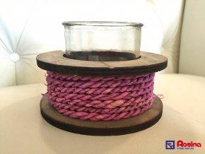 Drevený svietnik s ružovou šnúrkou 13x9cm, 12,00€, 729699TRE