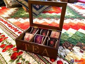 Krabička na čaj hnedá TEA 24x18cm, 6 priehradok, 19,90€, 58378ART,JPG