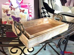 Set drevenných tácok so striebornými srdiečkami 40x25 a 34,5x20,5cm, 35,80€, 1571200TRE