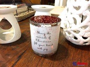 Svietnik Christmas strieborno červený stredný 10,5cm, 10,80€, 036744289HAR