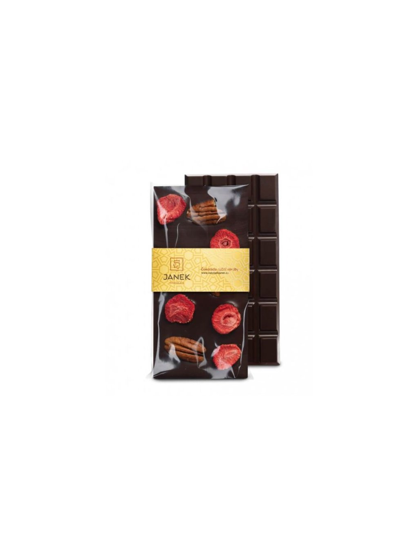 horka cokolada s pekanovymi orechy jahodami janek