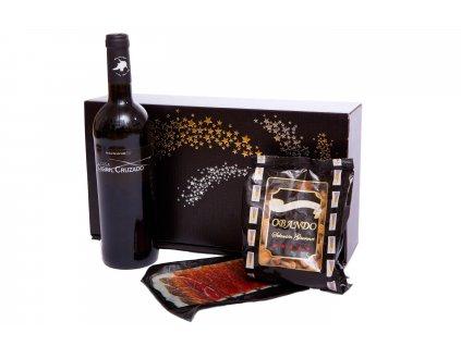 Dárkové balení Španělské víno a sušená šunka