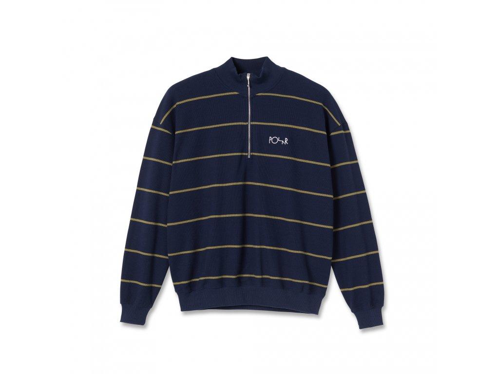 Mikina Polar Stripe Zip Neck Sweatshirt Rich Navy