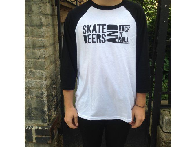 Triko Darkslide Skate, Beers and Rock'n'Roll Raglan White/Black