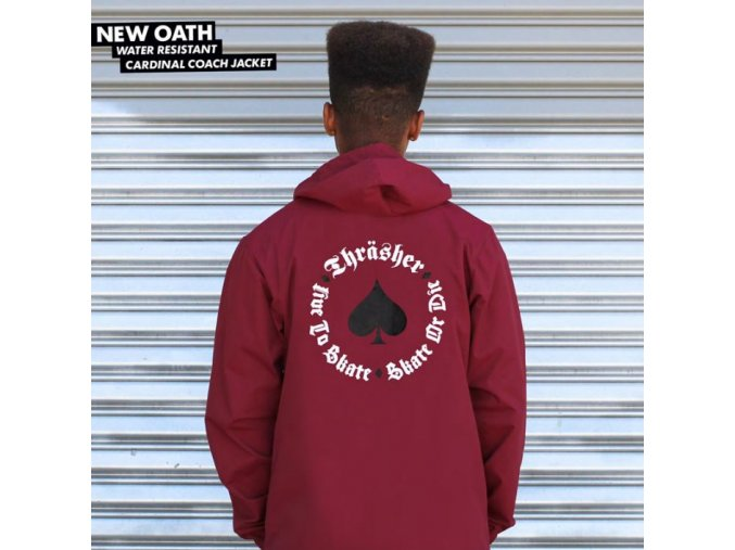 Bunda Thrasher New Oath Coach Jacket (Cardinal)