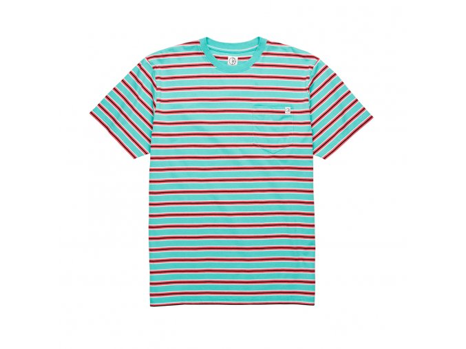 Triko Polar Striped Pocket Tee (Mint/Coral Red)