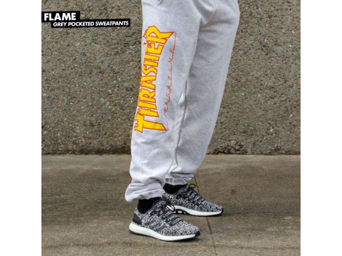 Tepláky Thrasher Flame Grey Pocketed Sweatpants