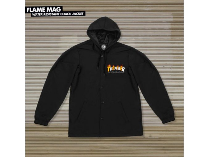 Bunda Thrasher Flame Mag Coach Jacket Black