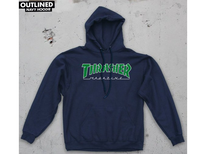 Mikina Thrasher Outlined Hood Navy/Green