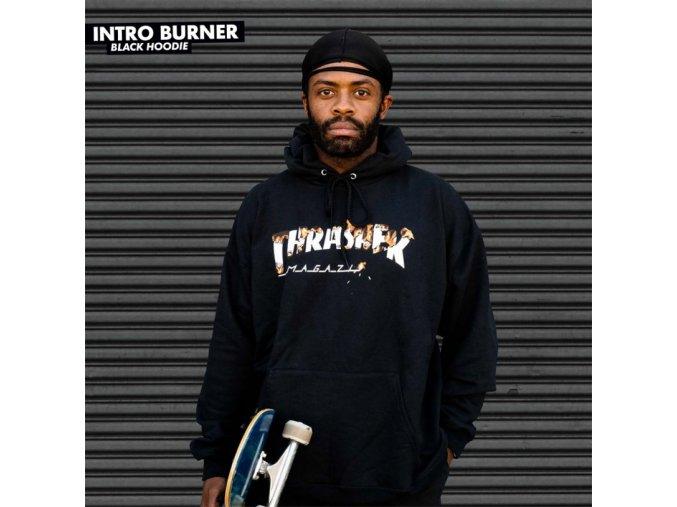 Mikina Thrasher Intro Burner Hood Black
