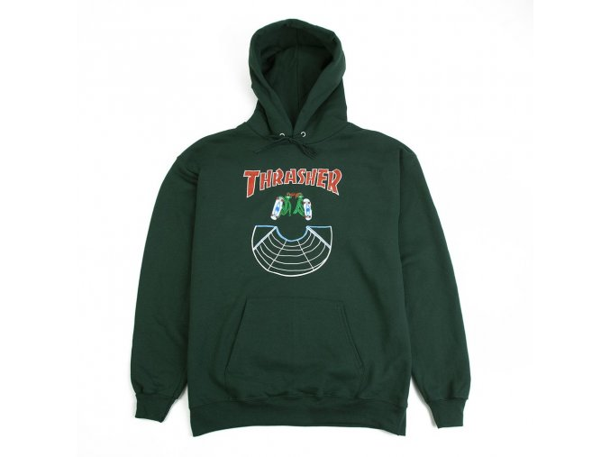 Mikina Thrasher Doubles Hood Forest Green