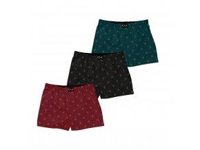 Trenýrky Polar Boxer Shorts (3 pack) Black/Dark Teal/Burgundy