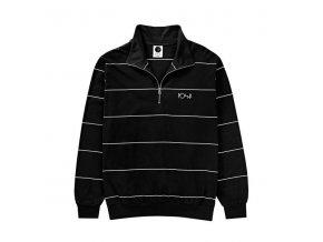Mikina Polar Striped Zip Neck Black