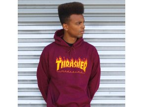 Mikina Thrasher Flame Logo Pull Over Hood Maroon