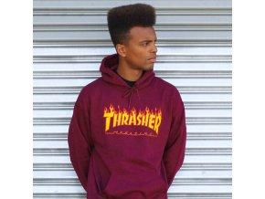 Mikina Thrasher Flame Logo Pull Over Hood Maroon