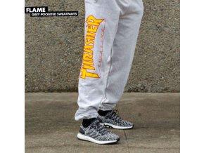 Tepláky Thrasher Flame Grey Pocketed Sweatpants