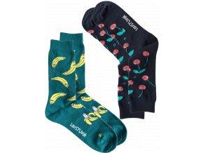 Ponožky Lousy Livin Socks Bananas & Cherry (Ocean/Navy) 2 Pack