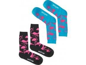Ponožky Lousy Livin Socks Flamingos (Turquoise/Black) 2 Pack