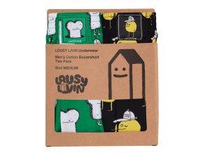 Trenýrky Lousy Livin Boxershorts Lousy Toast (Black/Green) 2 Pack