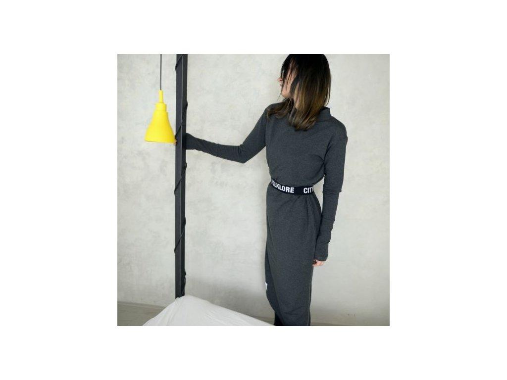 BIOGA šaty MaxLONG tmavě šedé s dlouhým rukávem