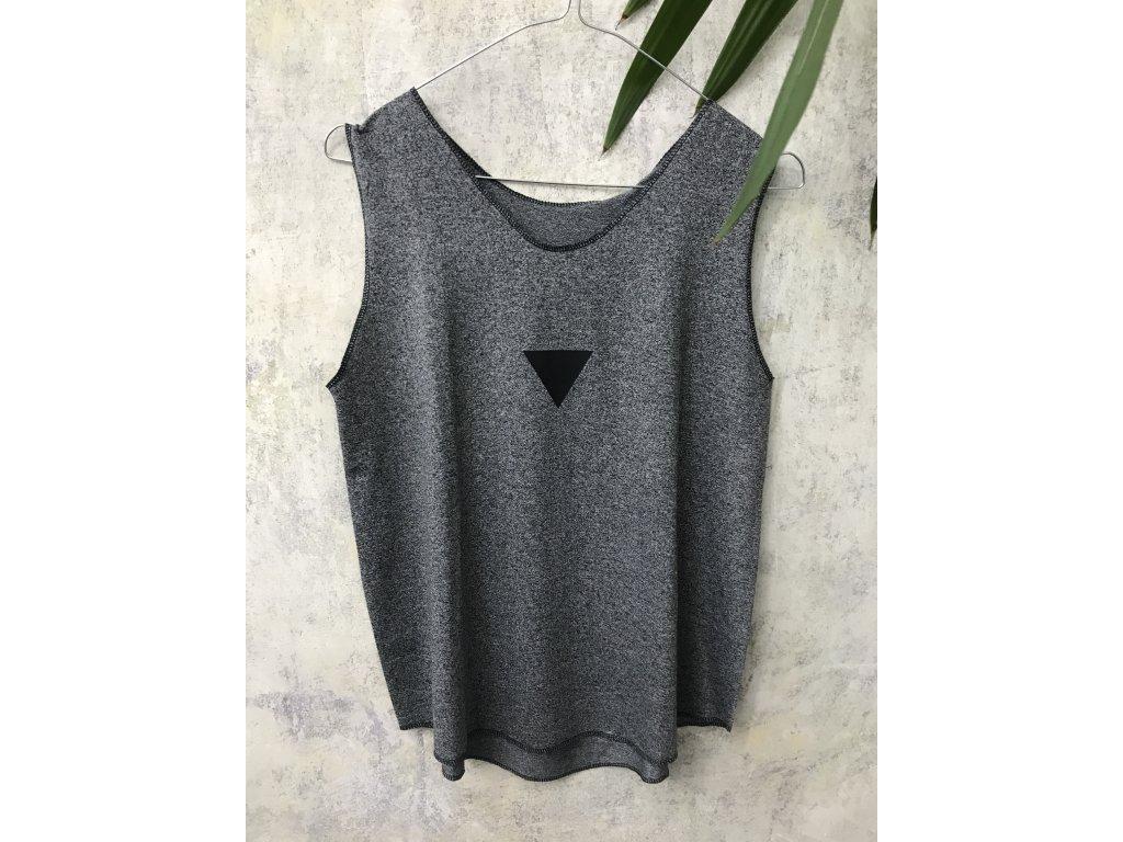 ARTGI Tílko tmavě šedý bambus - černý trojuhelník + dva malé, S - 27