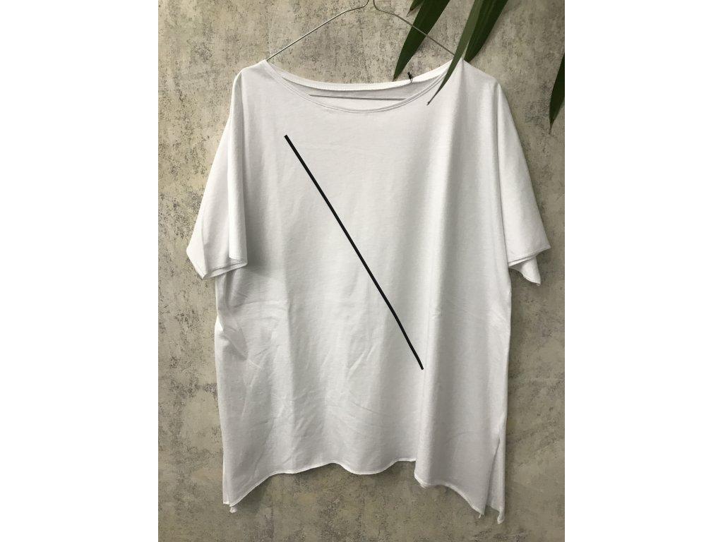ARTGI Tričko AN bavlněné bílé - černá šikmá čára - L / 30