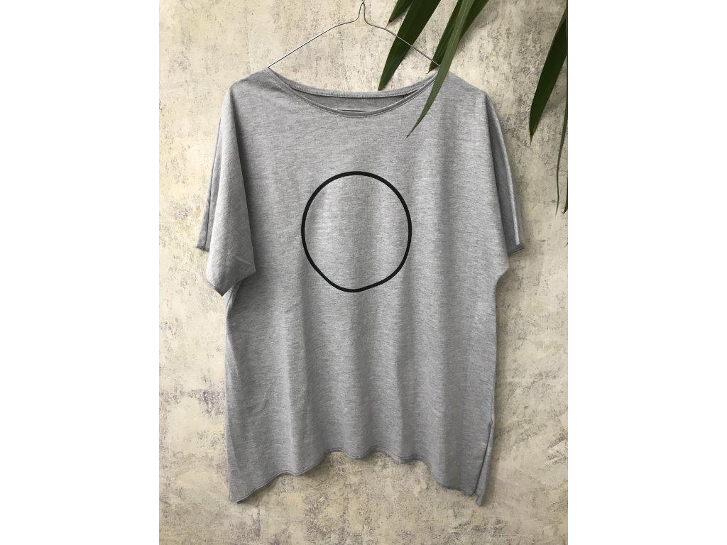 ARTGI Tričko AN bavlněné šedé žíhané - černý kruh - M / 31