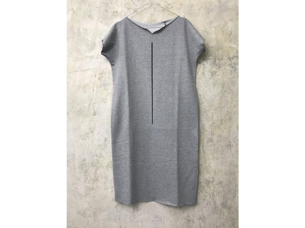 ARTGI Šaty KA, bavlněné tmavě šedé žíhané, černá čára, M / 37