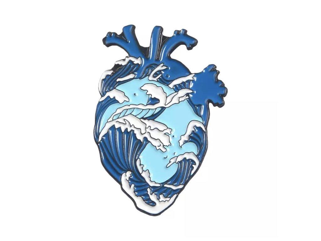 Pin / Brož Srdce oceánu - modré
