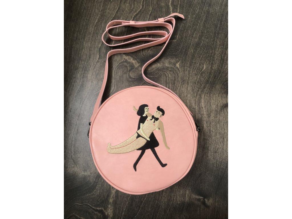Kulatá kabelka crossbody růžová s výšivkou - pár 1