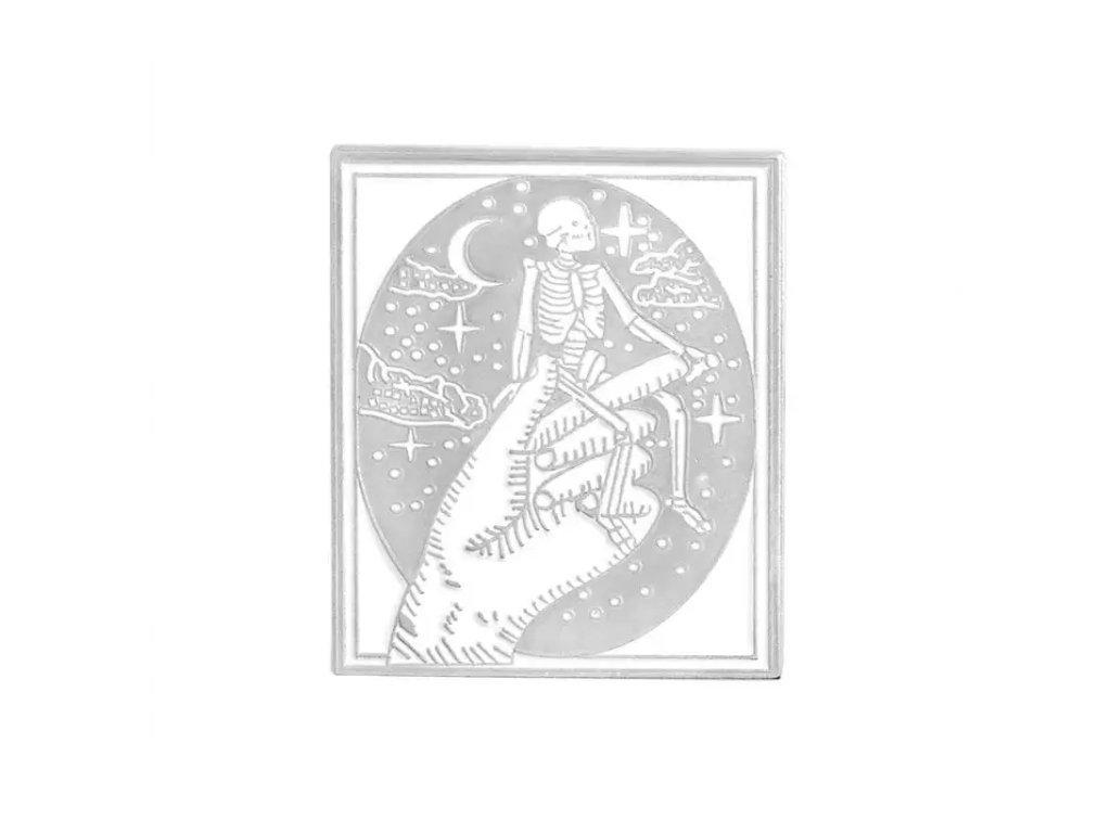 Pin / Brož odznáček Obraz s kostlivcem - bílo-stříbrný
