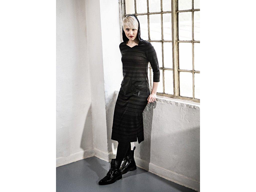 KRAPA šaty / dlouhá mikina s kapucí - černé s pruhy / 3.