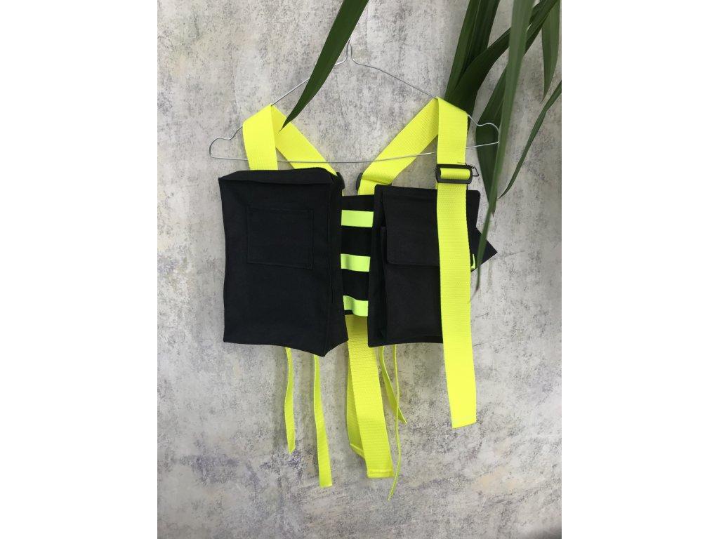 PRINCESS TIRAMISU - chestbag - Hrudní taška / ledvinka / vesta - černá s neon žlutými popruhy