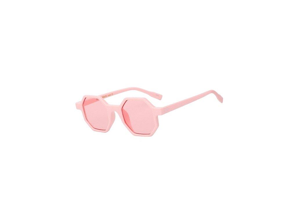 Sluneční brýle Rocka Shades hranaté obdelníkové - růžové