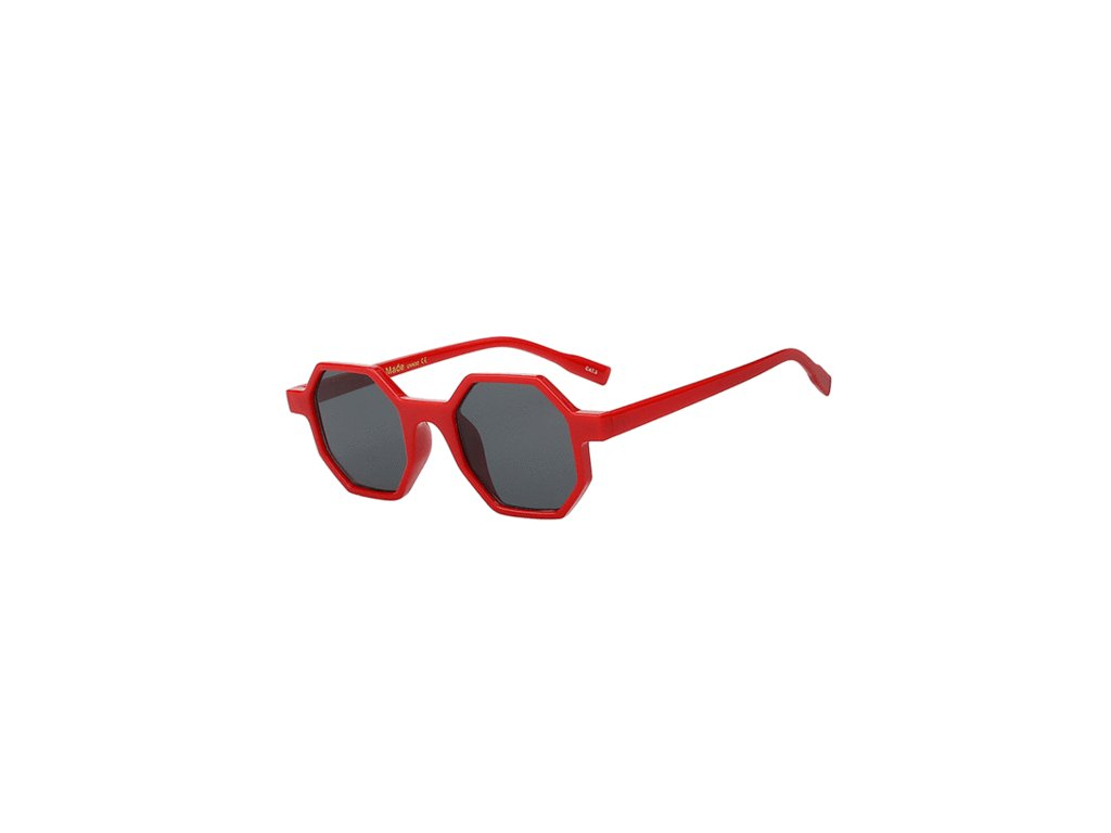 Sluneční brýle Rocka Shades hranaté obdelníkové - červené