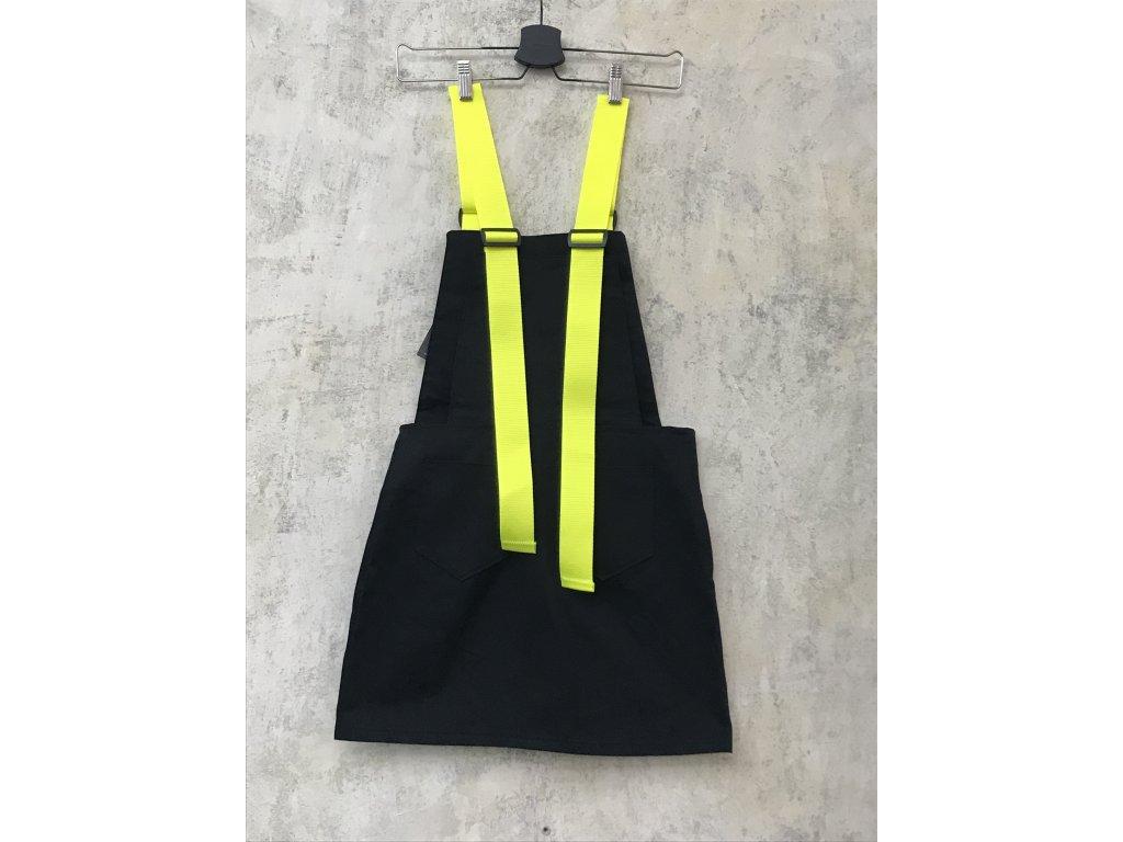 PRINCESS TIRAMISU Sukně / šaty s lancelm černá + žluté neonové popruhy