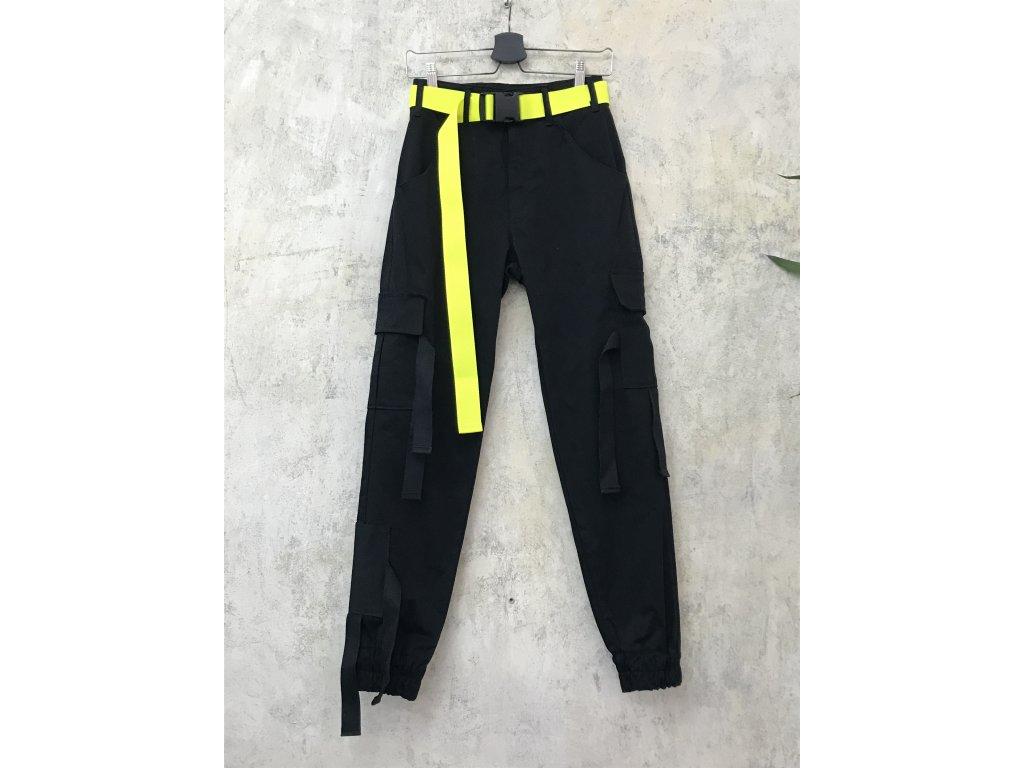 PRINCESS TIRAMISU černé unisex kalhoty kapsáče s třásněmi a neonovým žlutým páskem