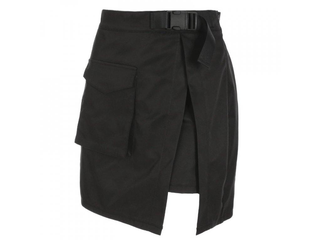 DARK černá sukně s rozparkem a sponou v pase
