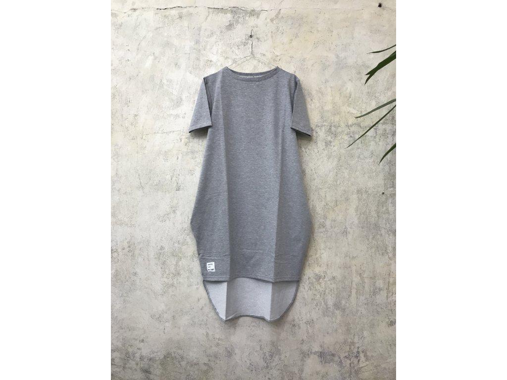 BIOGA šedé šaty LARGO sleeve s rukávem