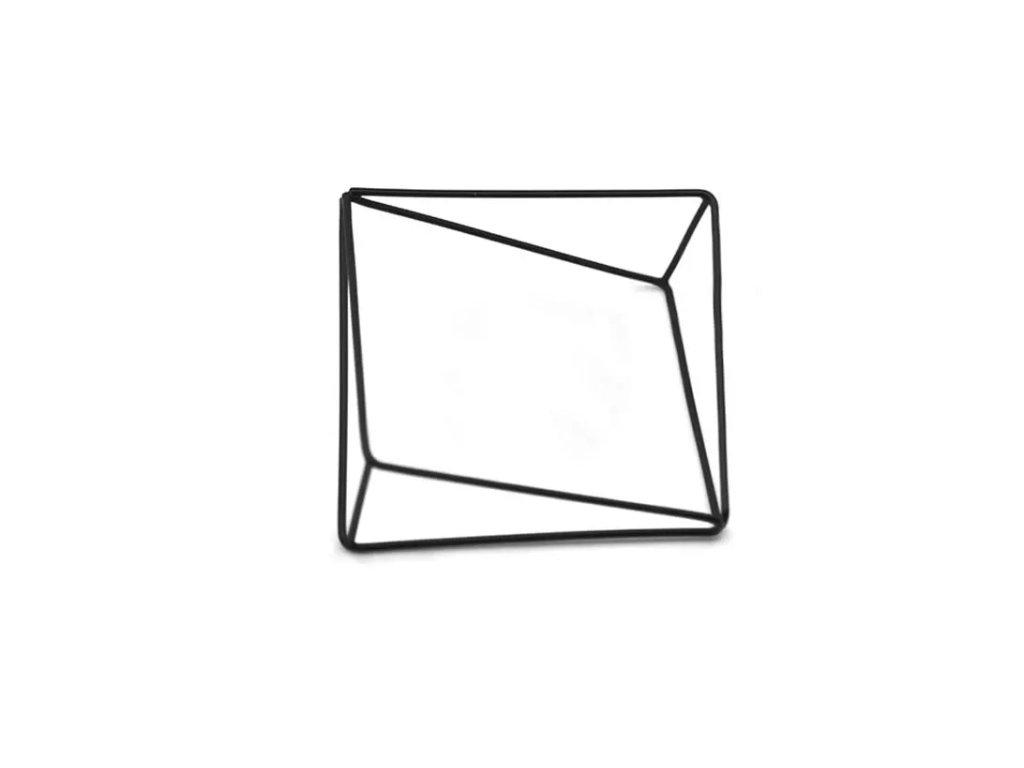Náramek GEO geometrický tenký černý - asymetrický
